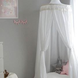 White Princess Style Cotton Fabric Tassels Decor Kids Round Canopy