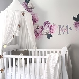 White Princess Style Chiffon Fabric Home Decor Kids Round Canopy