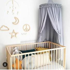 Grey Nordic Style Cotton Fabric Tassels Decor Kids Round Canopy