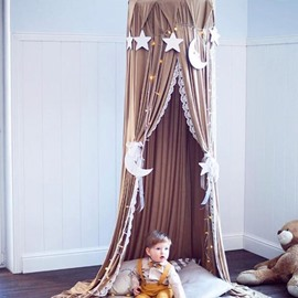 Coffee Nordic Style Cotton Fabric Home Decor Kids Round Canopy