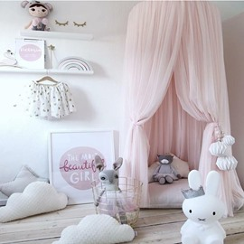 Dreamlike Princess Style Chiffon Fabric Home Decor Kids Pink Round Canopy