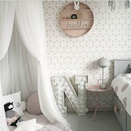 Chiffon Fabric Princess Style Home Decor Kids White Round Canopy