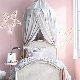 Chiffon Fabric Princess Style Home Decor Kids Grey Round Canopy