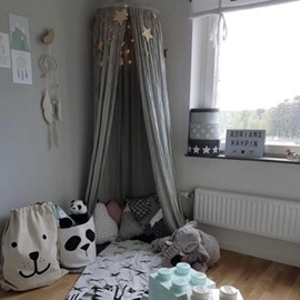 Cotton Fabric Princess Style Home Decor Kids Grey Round Canopy
