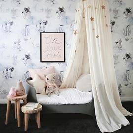 Cotton Fabric Princess Style Home Decor Kids White Round Canopy