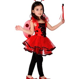 Ladybird Shaped Red Color Girl's Halloween Costume