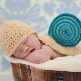 Vivid Snail Design Multicolor Option Knit Baby Cloth Photo Prop