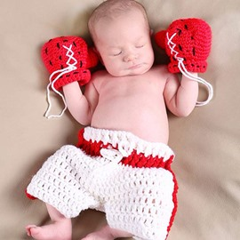 Cool Boxer Design Knit Baby Cloth Photo Prop
