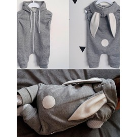 Rabbit Shape Cotton Gray 1-Piece Sleeveless Bodysuit