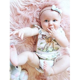 Deer Printed Cotton White 1-Piece Sleeveless Bodysuit