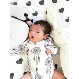 Dream Catchers Printed Cotton White 1-Piece Bodysuit