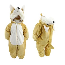 Dog Shape Flannel Simple Style Yellow Baby Sleeping Bag/Jumpsuit