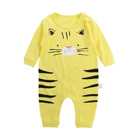 Cat Printed Cotton Simple Style Yellow Baby Sleeping Bag/Jumpsuit