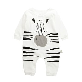 Cartoon Cotton Simple Style White Baby Sleeping Bag/Jumpsuit