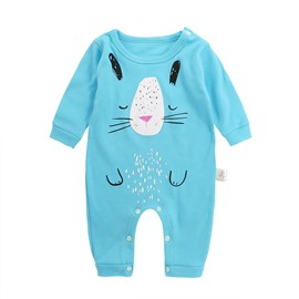 Cat Printed Cotton Simple Style Blue Baby Sleeping Bag/Jumpsuit