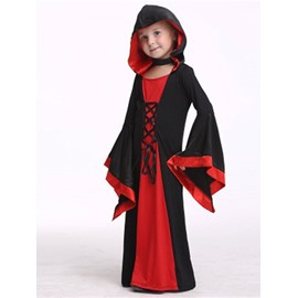 Halloween Witch Polyester and Net Cloth Black and Red Kids Costume
