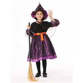 Halloween Witch Polyester and Net Cloth Black Kids Costume Set