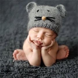 Cat Shaped Yarn Simple Style Gray Baby Hat