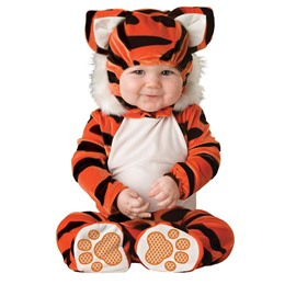 Tiger Shaped Tails Decoration Polyester Orange and Black Baby Costume