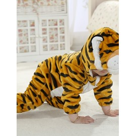 3D Live Little Tiger Shaped Golden Stripes Polyester Baby Jumpsuit