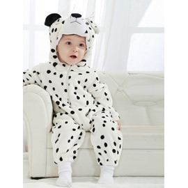 3D Cute Little Snow Leopard Shaped White Polyester Baby Jumpsuit