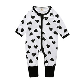 White And Black Heart Pattern Long Sleeve Cotton Material Zipper Infant Jumpsuit/ Baby Bodysuit