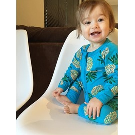 Blue Pineapple Pattern Long Sleeve Cotton Material Zipper Infant Jumpsuit/ Baby Bodysuit