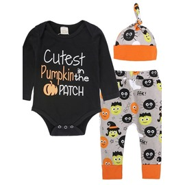 Cartoon Pumpkin Pattern 3 Pieces Cotton Material Baby Costume