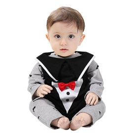 3 Pieces Little Devil Pattern Black And Grey Cotton Material Baby Costume
