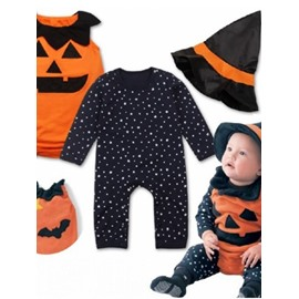 4 Pieces Halloween Pumpkin Little Witch Baby Costume