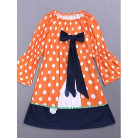 4 Color Cute Halloween Pumpkin Cotton Material Kids Dress