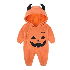 Polar Fleece Material Orange Funny Halloween Pumpkin Baby Jumpsuits/Costume