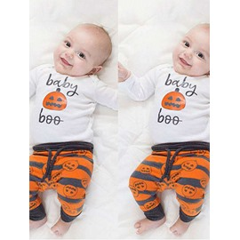 3 Pieces Cotton Material Halloween Pumpkin Baby Costume