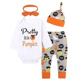 Halloween Pumpkin And Letters 4-Pieces Cotton Material Baby Costume