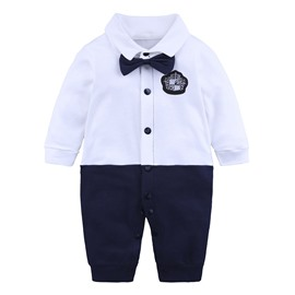 White And Black Bowknot Long Sleeve Cotton Material Fastener Infant Jumpsuit/ Baby Bodysuit