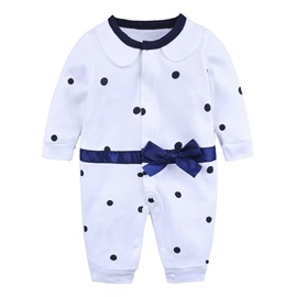 White Dot Pattern Long Sleeve Cotton Material Fastener Infant Jumpsuit/ Baby Bodysuit