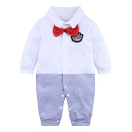 Long Sleeve Cotton Material Gentleman Fastener Infant Jumpsuit/ Baby Bodysuit