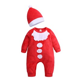 Toddler Boys Girls Cotton Romper Christmas Costume Jumpsuit+Hat