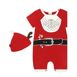 Unisex Baby Short Sleeve Plaid Christmas Lovely Bodysuit+ Hat