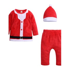 Unisex Baby Leisure Round Neck Long Sleeve+Pants+Hat Christmas Warm Jumpsuit