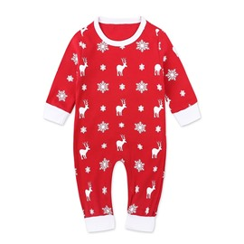 Baby Rompers Bodysuit Newborn Baby Christmas Deer Printing Red Jumpsuit