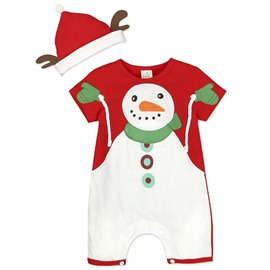 Unisex Baby Short Sleeve Plaid Christmas Snowman Bodysuit
