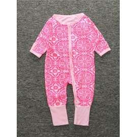 Red Flower Long Sleeve Covered Feet Cotton Zipper Infant Jumpsuit/Bodysuit