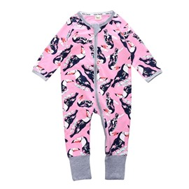 Long Sleeve Covered Feet Red Crane Cotton Zipper Infant Jumpsuit/Bodysuit