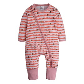 Long Sleeve Covered Feet Red Cotton Zipper Infant Jumpsuit/Bodysuit