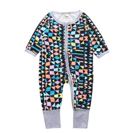 Colorful Grid Long Sleeve Covered Feet Cotton Zipper Infant Jumpsuit/Bodysuit
