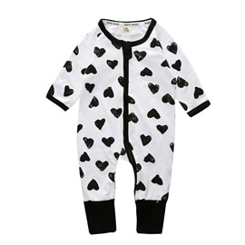 Love Heart Long Sleeve Covered Feet Cotton Zipper Infant Jumpsuit/Bodysuit
