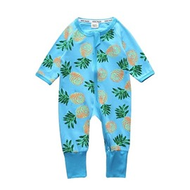 Pineapple Long Sleeve Covered Feet Cotton Zipper Infant Jumpsuit/Bodysuit