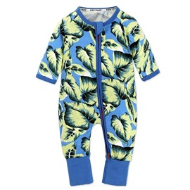 Blue Leaf Long Sleeve Covered Feet Cotton Zipper Infant Jumpsuit/Bodysuit