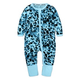 Blue Spot Long Sleeve Covered Feet Cotton Zipper Infant Jumpsuit/Bodysuit
